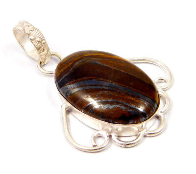 Tiger's Eye .925 Silver Plated Handmade Pendant Jewelry JC4772