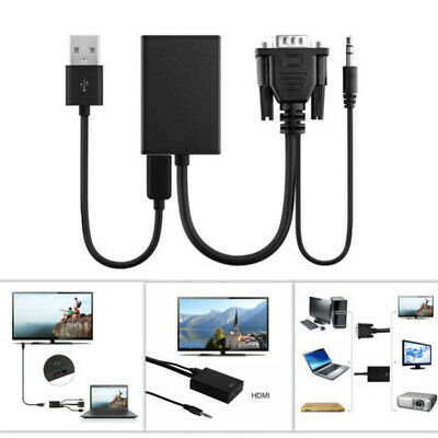 DC5V VGA Male To HDMI Output 1080P HD+Audio TV AV HDTV Video Cable Adapters Set