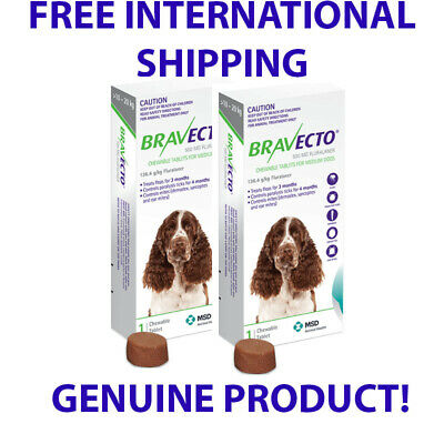 2 X Bravecto Chew Medium Dog Pack Deal 10-20 kg Free Shipping