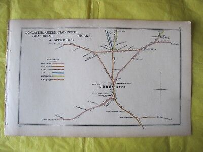 RARE 1901 RAILWAY CLEARING HOUSE Junction Diagram No.23 DONCASTER,ASKERN,