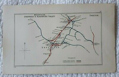 1928 RAILWAY CLEARING HOUSE Junction Diagram No.67 SHEFFIELD,TREETON,BRIGHTSIDE.