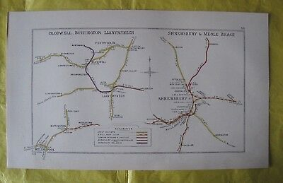 1928 RAILWAY CLEARING HOUSE Junct Diagram No.68 SHREWSBURY/BLODWELL/WELSHPOOL.