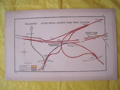 1920 RAILWAY CLEARING HOUSE Junc Diagram No.78 WILLESDEN JUNCTION/QUEENS PARK.