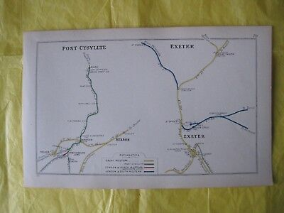 1911 RAILWAY CLEARING HOUSE Junc Diagram No.70 PONT-CYSYLLTE/RUABON/EXETER
