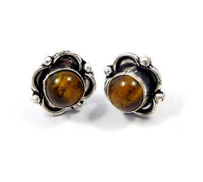Tiger's Eye .925 Silver Plated Handmade Stud Earring Jewelry JC8197