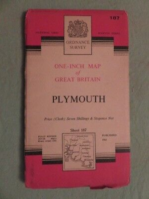 """Antique O/S 1""""/mile map Great Britain PLYMOUTH (1961) sheet 187"""