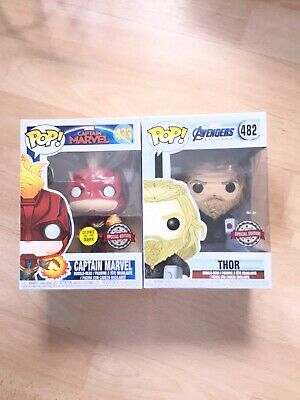 funko pop captain marvel  Thor Exclusive Avengers Endgame, Ironman, Spiderman