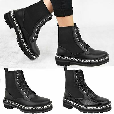 Womens Low Block Heel Chunky Black Ankle Boots Lace Up Works Smart Punk Biker