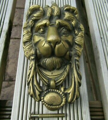 Vintage Large Heavy Brass Lion head Door Knocker - Gothic style with Bolts
