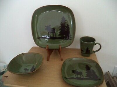 Nature's Home Moose and Trees GREEN & BLACK 4 PIECE SETTING
