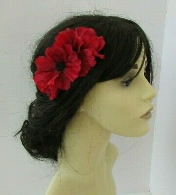 Red Black Poppy Flower Hair Comb Fascinator Wedding Races Floral Headpiece 7542