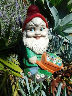 Classic Large Concrete Garden Gnome with Flowers in Barrow Garden Ornament