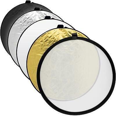 """60cm (24"""") 5 in 1 Collapsible Round Disc Studio Light Reflector  Carrying Case"""