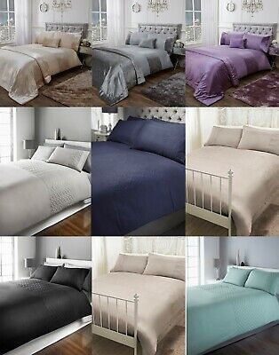 Sienna Crushed Velvet Panel Duvet Cover with Pillow Case Bedding Set Xmas gift