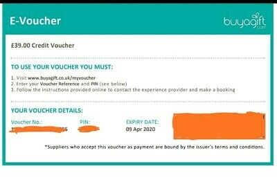 Buyagift open voucher £39 expiry 04/2020. Emailed over immediately! Buy a gift