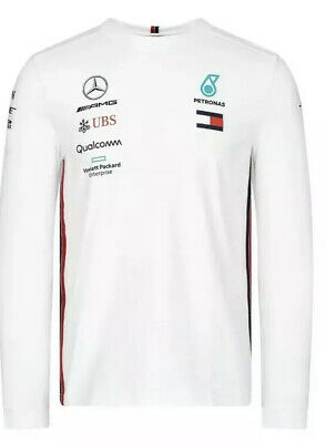 NEW 2019 Mercedes AMG F1 Team Lewis Hamilton Long Sleeve T Shirt WHITE Medium