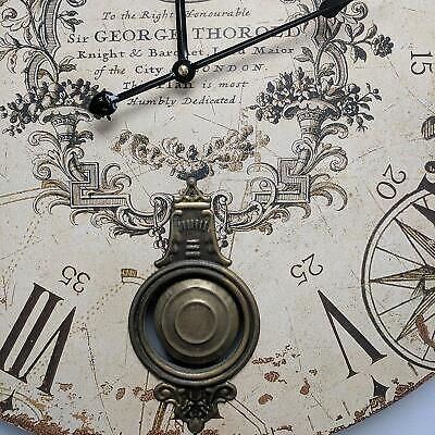 Large Pendulum Wall Clock, Aged Distressed Finish, French Antique Vintage Style