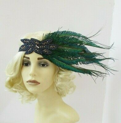 Navy Blue Charcoal Dark Grey Green Peacock Feather 1920s Headband Flapper 7555
