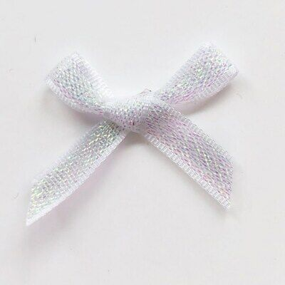 Small Wedding Lurex Iridescent White Ribbon Bows Pre-Tied Craft  Embellishment