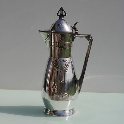 Art Nouveau silver plated wine claret jug decanter.