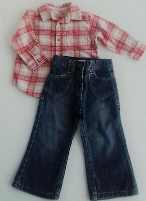 Red Blue Casual Cotton Warm Winter Shirt Jean Pants Boy's Kid's 2-3 y.o  86 cm