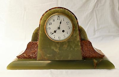 French Art Deco Onyx & Marble Mantle Clock