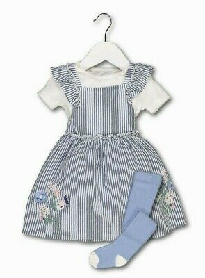 BNWT Baby Girls Blue Embroidered Pinafore Dress Bodysuit Top Tights Outfit 12-18