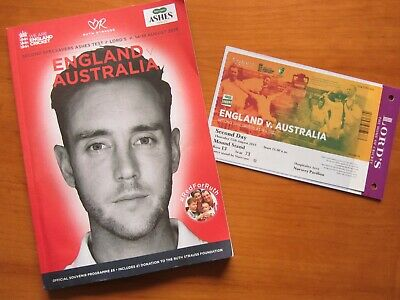 ASHES CRICKET 2nd TEST ENGLAND V AUSTRALIA PROGRAMME 14-18 AUG 2019 LORDS&TICKET