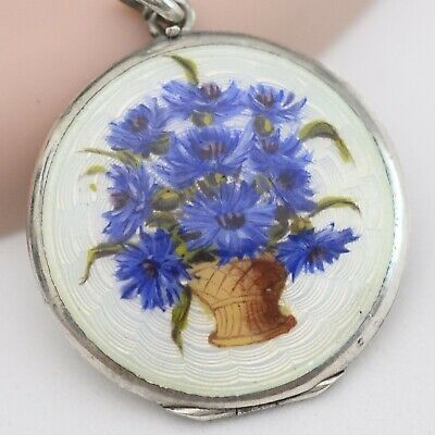 Vtg Art Deco Sterling Silver Guilloche Enamel Flower Bouquet Locket Pendant