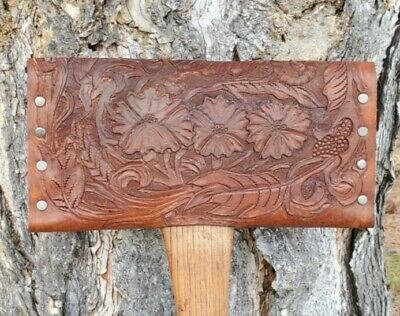 Heavy Duty Double bit axe sheath - Hand tooled leather sheath fully covers head
