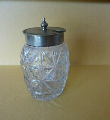Vintage/Antique Glass Mustard Pot with EPNS Silver Plated Hinged Lid.