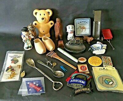 Junk Drawer Lot Camel Tin Japan Figurines Train Ashtray Wooden Shoes