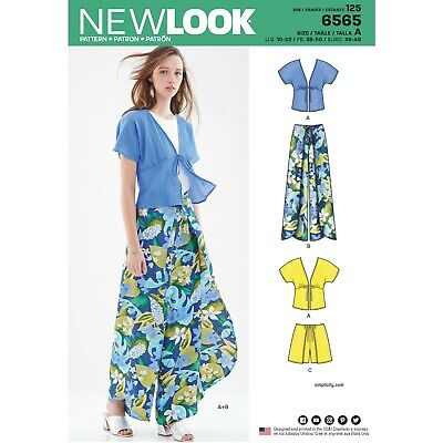 New Look Sewing Pattern 6565 D5 Misses' Kimono Top and Wrap Pants or Shorts