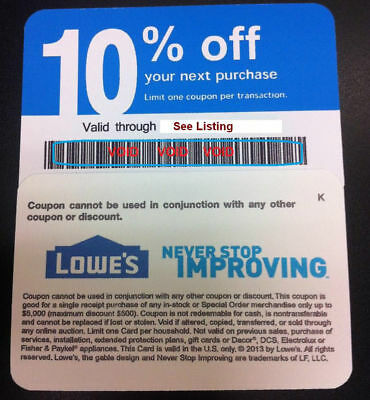 20x Lowes Blue Discount 10% off Card Exp SEPT 2020 - Home Depot discount By Mail