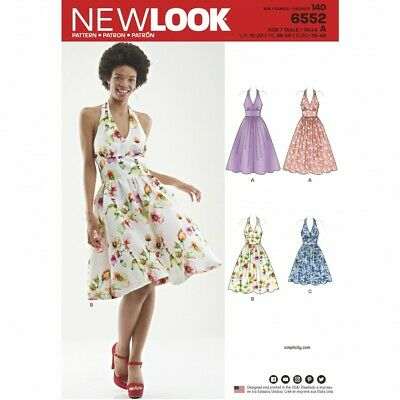 New Look Sewing Pattern 6552 3 Lengths Halter Neck Dress