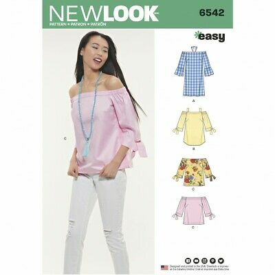 New Look Sewing Pattern 6542 4 Styles Cold Shoulder Off Shoulder Top