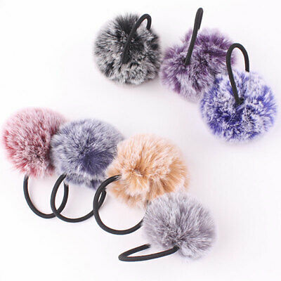 1Pcs Faux Rabbit Fur Ball Hair Rope Hair Ties Rubber Bands Scrunchies Ponytail
