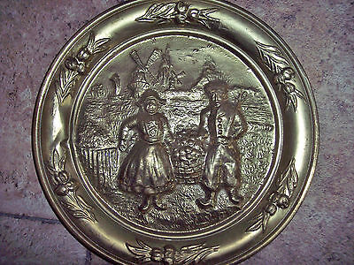 "Vintage-Embossed Brass Wall Plate-10""-Made in ENGLAND"