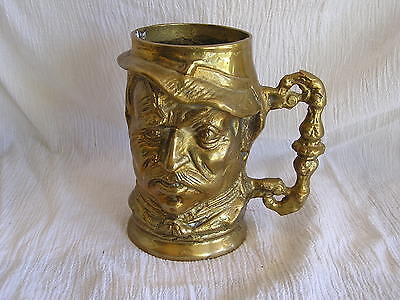 Vintage Toby Mug Tankard Cup Stein Nicely Detailed Face Large Heavy Solid Brass