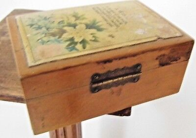 Victorian jewellery trinket wood BOX   A WISH   antique