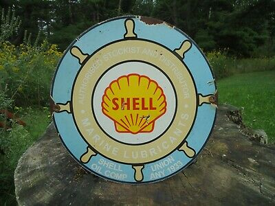 1933 Shell Marine Lubricants Porcelain  Gas Pump Sign, Shell Oil Co.