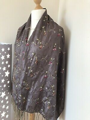 Fabulous scarf silky-look Embroidered mink pink flowers Large 155cm by 63cm