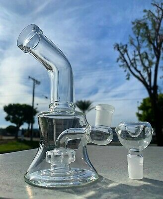 "Hookah Water Pipe Glass 6"" Clear Shower Bend Tobacco Glass Bong w/ Bowl"