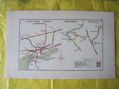 1928 RAILWAY CLEARING HOUSE Junc Diagram No.18 WIDNES AREA/BARNSTAPLE/CHATHILL