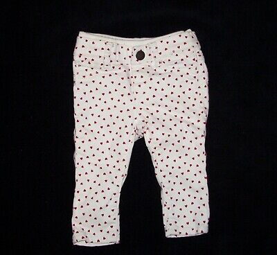 Baby Gap Girls 6-12 Month White Skinny Pants Red Hearts Ribbed Waist Valentines