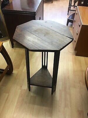Vintage Octagonal Side Table Plant Stand With Lower Shelf