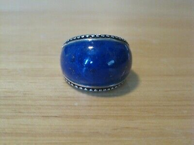 Vtg HSN Sally C Treasures Sterling Silver Blue Lapis Band Ring 8 SX925 Thailand