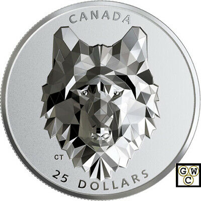 2019 'Wolf -Multifaceted Animal Head' $25 Silver Coin 1oz .9999 Fine (18799)(NT)