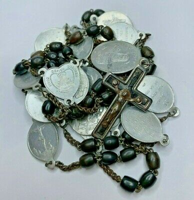 """† Nun's 1800S Antique """"Stations Of The Cross"""" Carved Bovine Rosary Chaplet 26"""" †"""