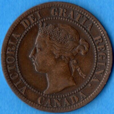 Canada 1894 1 Cent One Large Cent Coin - Very Fine